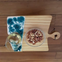 Personal pine wood and resin snack and wine tray.