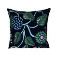 Navy Blue Abstract Flower Modern Pillow.