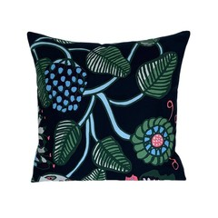 Navy Blue Abstract Flower Modern Pillow.