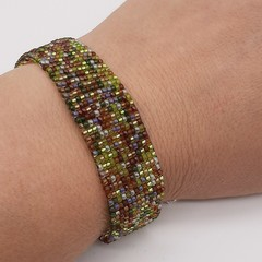 Brown Green Cream Beaded Bracelet Bright Summer Gift Trendy