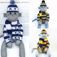 Footy Sock Monkey  - check available teams - *MADE TO ORDER*