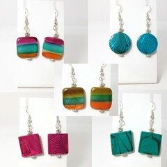 Marble Look Ceramic Earrings -  Pink Teal blue and stripe