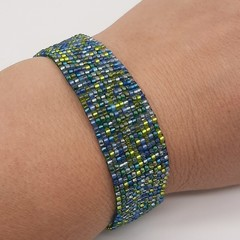 Blue and Green Beaded Bracelet Bright Summer Gift Trendy