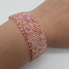 Pink and Gold Beaded Bracelet Gift Summer Trendy