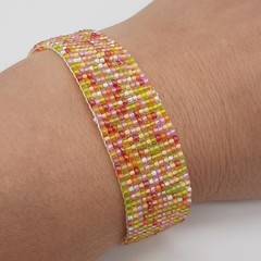 Orange Yellow Red Green White Pink Beaded Bracelet Bright Summer Gift Trendy