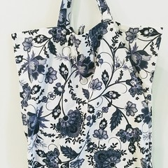 Foldable eco tote / BLUE - FLOWER