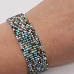 Blue Brown White Beaded Bracelet Bright Summer Gift Trendy