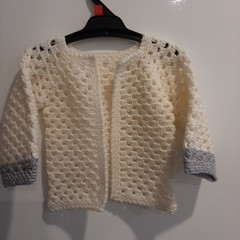Crochet Toddler Girl Cardigan - 100% Wool