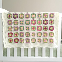 Crochet blanket, wool, white, multicoloured, bedding, pink