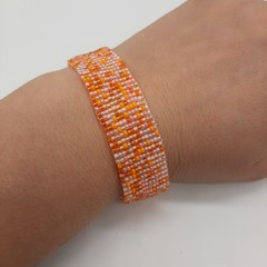 Orange and Pink Beaded Bracelet Bright sunshine Summer Fun Trendy