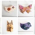 Funky Animal Brooches, Cat Brooch, Fish Brooch, Bird Brooch, Butterfly Brooch Po