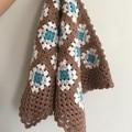 Crochet blanket, wool, coffee, caramel, teal, bedding, unisex