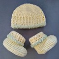 Baby Booties and Matching Hat - Newborn Size