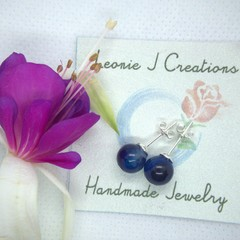 Sterling Silver Stud Earrings with Lapis Lazuli bead with free postage