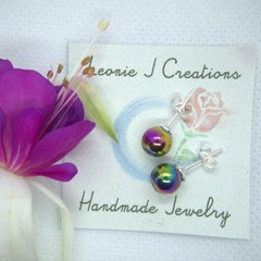 Sterling Silver Stud Earrings with Rainbow Haematite beads with free postage