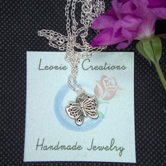 Childrens Necklace with Alloy Butterfly Pendant with free postage