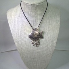 Necklace with Large Fish and Dolphin Pendant with free postage