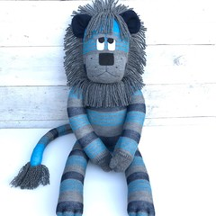 'Leyland' the Sock Lion - navy, turquoise & grey stripes - *READY TO POST*