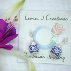 Sterling Silver Stud Earrings with Decorative Ceramic bead with free postage