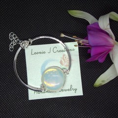 Sterling Silver Bracelet with Moonstone Pendant with free postage