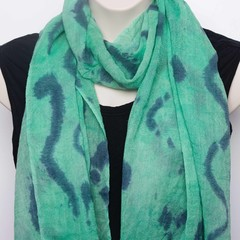 Green Hand Dyed Silky Woolen Scarf