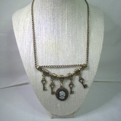 Steampunk Style Necklace with Keys and Gothic Cameo with free postage