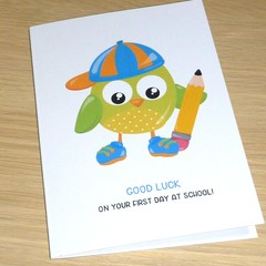 Good Luck on your first day of school card - Owl
