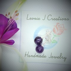 Sterling Silver Stud Earrings with Amethyst bead with free postage