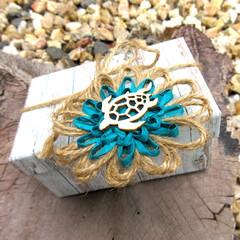 Set of 4 Ocean Beach Embellishment Jute Paper Raffia Natural Fibre Floral Tag