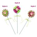 Decorative Paper Raffia Floral Wired Pick Button Decor