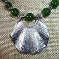 Nephrite and silver necklace