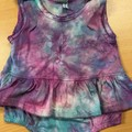 Hand dyed Scalloped Edge Sleeveless  Skirt Romper: Size 3 Months
