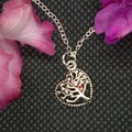 Childrens Necklace with Alloy Heart Tree of Life Pendant with free postage