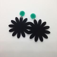 Black acrylic flower earrings