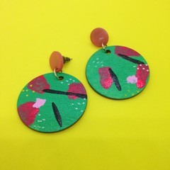 Lightweight wood handpainted green/red/black/white earrings