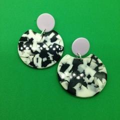 Mottled black + white acrylic earrings