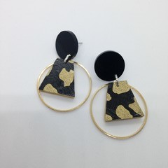 Black & gold splotch with gold alloy accent earrings