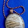 BANDED OPALITE  CABACHON PENDANT with Matching Ball Chain