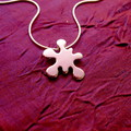 Ink Splat - Handmade Sterling Silver Pendant with Snake Chain