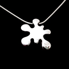 Ink Splat - Handmade Sterling Silver Pendant with Snake Chain by Purplefish