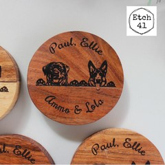 Personalised Chunky Timber Acacia Coasters- Peeking Dog