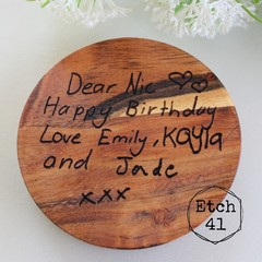 Personalised Chunky Timber Acacia Coasters- Design your own