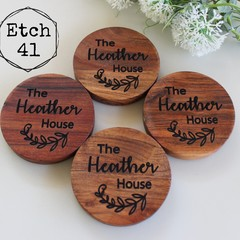 Personalised Chunky Timber Acacia Coasters with personal message option