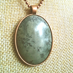 GEMSTONE  CABACHON PENDANT With Matching Ball Chain