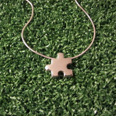 Jigsaw - Handmade Sterling Silver Pendant with Snake Chain