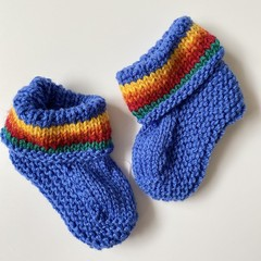 Blue Baby Booties - Hand knitted in Pure Wool