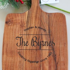 Personalised Etched Timber Acacia Boards - Family Stamp, Cheese and Wine