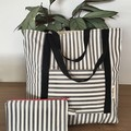Black/white striped tote