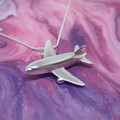 Aeroplane - Handmade Solid Sterling Silver Pendant with Snake Chain