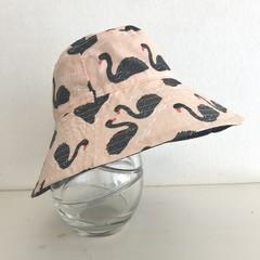 Girls wide brim summer hat in swan fabric